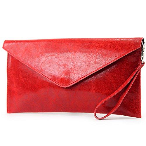 modamoda de - Made in Italy T106G Pochette in pelle liscia, da donna Rot