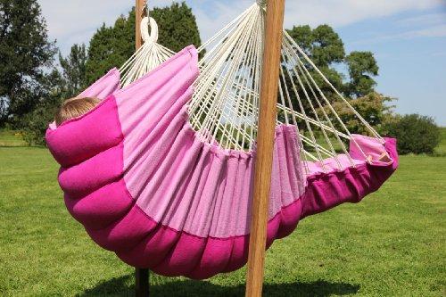 Exclusiver Hängestuhl Liegestuhl Rocker in pink mit Polsterung (Rocker-liegestuhl)