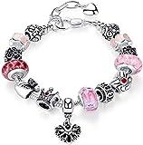 anewish Armband für Mädchen, Modeschmuck, Motiv: Blumen/Königinnenkrone/Perlen/Charmes, schönes Geschenk