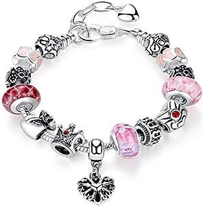 anewish braccialetto per le ragazze, gioielli fashion, fiori regina perline fascino, bello regalo.