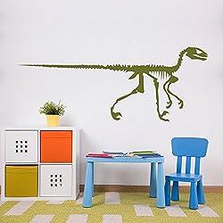 Velociraptor Skelton silueta del dinosaurio Pegatinas de Pared habitación de los niños Arte Adhesivos disponible en 5 tamaños y 25 colores Extragrande Verde musgo