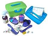 Haas Box pulizia bambini riempito di brusca striglia viola+Effol lucidalabbra stelle e gomme criniera