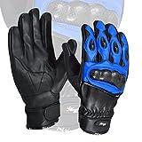 blau Premium Leder Sommer Motorrad Handschuhe Kuhfell 100% Echtleder -