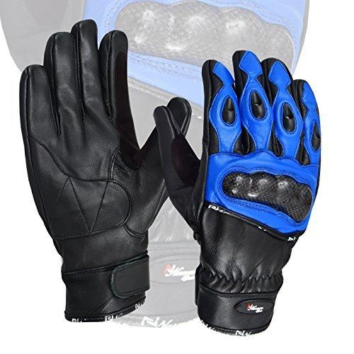 blau Premium Leder Sommer Motorrad Handschuhe Kuhfell 100{e4daa9e1962c0af0918e5508255514b1142dcc302fde8b7532f0db9a54a57a5e} Echtleder - Large