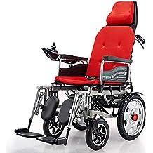 Chair Silla de Ruedas eléctrica Liviana y Plegable, con Respaldo reclinable y Doble Silla portátil