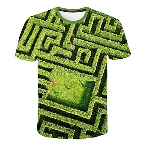 Simple Street Fashion 3D-Druck Geometrie Herrenhemd Sommer Großes T-Shirt Einzigartiges Top, grüne Pflanzenblätter 4XL - Lee T-shirt Hat