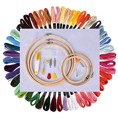 BASEIN Stickerei Starter Kit, Stickerei Set, Kreuzstich Tool Kit Einschließlich 5 Stück Bambus-Hoops, 50 Farbfäden, 12 von 18-Zoll 14 Count Classic Reserve Aida und Nadeln Set -