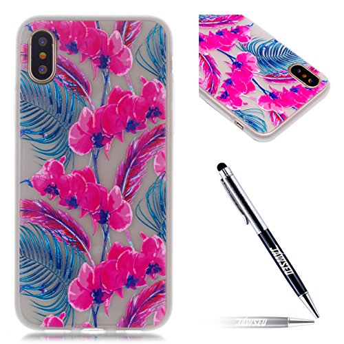 iPhone X Custodia, iPhone X Cover Silicone Transparente, JAWSEU Agganciabile Luminosa Colorate iPhone X Custodia Protettivo Skin Shell Slim Fit Chiaro Corpeture Case Antiurto Creativo Disegno Anti-scr Floreale Rosa