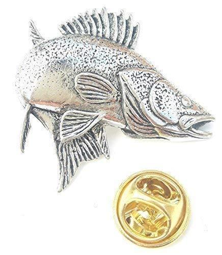 Zander / Walleye Fisch Handgefertigt aus Englischen Zinn in Großbritannien Revers-anstecknadel + 59mm Knopf-abzeichen + Geschenktüte