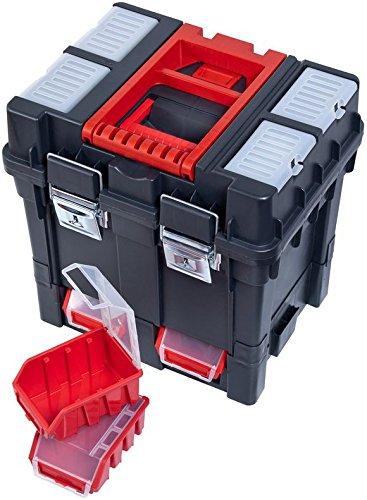 Werkzeugkoffer Werkzeugwagen Rollwagen Wheelbox HD Compact schwarz / rot Trolley Rollen - 4