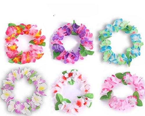 Hawaii Blumen 24 Stück Blumenkränze – Hawaiian Lei Haar Accessoire Set - Kunstblumen Girlande fur Aloha Hula Luau Sommer Beach Party, Geburtstag Dekoration - Hawaii Leis Haarschmuck