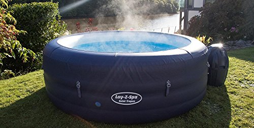 Lay-Z-Spa Saint Tropez Hot Tub with Floating LED Light, Airjet Inflatable Spa, 4-6 Person