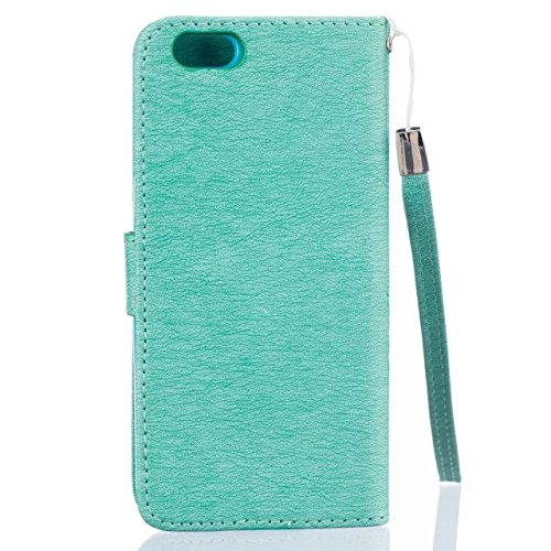 iPhone Case Cover Peint motif coloré cas de style portefeuille magnétique de conception Flip Folio PU couverture en cuir cas de couverture standup pour iPhone 6 6S ( Color : Red , Size : IPhone 6 6S ) Green