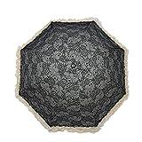 CAOLATOR Regenschirm Damen Taschenschirme mit Schwarzer Anti-UV Beschichtung Schirm Spitze Doppelschicht Sonnenschirm Klappschirme 8 verstärkten Rippen Klein, Leicht Kompakt für Winddicht, Regenschutz, Schatten (Schwarz)