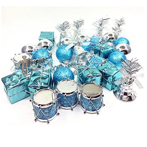 Jeteven 32 Stück Weihnachtskugeln Christbaumschmuck dekor aus Kunststoff bis Ø 4cm Weihnachten Weihnachtsbaumkugeln Anhänger, eisblau