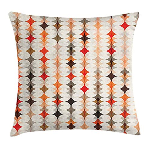 BUZRL Geometric Throw Pillow Cushion Cover, Vintage Oval Pattern with Radiant Tone Effects Mosaic Illustration, Decorative Square Accent Pillow Case, 18 X 18 inches, Cream Peach Orange Red