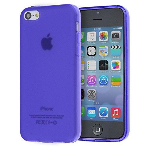 doupi TPU Case PerfectFit Étui pour iPhone 5C avec intégrés dans les bouchons de poussière housse de protection Matte Clear Case Silicone Bumper Couverture Cover mat transparent noir Violet