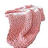 mollylover Decke Handgefertigt Nordische Dicke Wolle handgewebte Decke Weiche Reine Farbe Stricken Wolldecke Sofa Dicke Warme Decke für Home Office Auto Accessories100 * 120cm (pink)