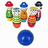 Longra jouets pour enfants bois boule de bowling quille drôle de forme pour les enfants jeu