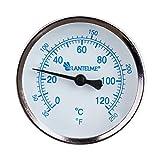 Lantelme 5927-120 °C Grad Thermometer für Heizung mit Messing Tauchhülse Zeigerthermometer Skala blau - Analog und Bimetall