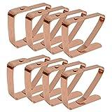 Zuzer Tovaglia Clip in Acciaio, 8PCS Acciaio Inox Fermatovaglia Ferma Tovaglia Clip d'oro Morsetti per Tovaglia per Picnic Ristorante Familiare