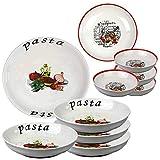Tish 5-teiliges Keramik-Set, kann als Teller/Schüssel/Servierplatte dienen, mit Pasta-Design, geeignet zum Servieren von Abendessen