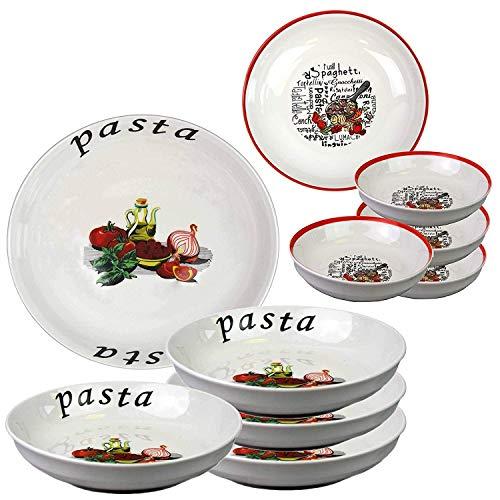 Ensemble de 5 pièces, assiettes creuses et saladier en céramique