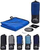 Premium Mikrofaser Reise-Handtuch (80x160) incl. Karabiner & Tasche + GRATIS Fixate Gel Pads • mit unsichtbarer Reisverschluss-Eck-Tasche von FALCKENSTEIN • ideal für Fitness-Studio, Sauna-Tuch, Microfaser Badetuch, Strand-Handtuch, See, Trekking, Outdoor & Reisen • (Blau, 80x160 cm)