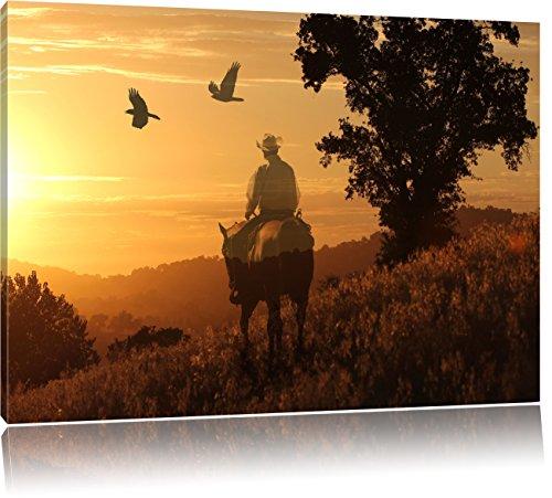 Ein Cowboy im Sonnenuntergang , Format: 100x70 auf Leinwand, XXL riesige Bilder fertig gerahmt mit Keilrahmen, Kunstdruck auf Wandbild mit Rahmen, günstiger als Gemälde oder Ölbild, kein Poster oder Plakat
