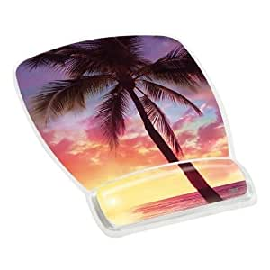 3M 6.8 x 8.6 x 0.75 inch Mouse Mat with Gel Wrist Rest with Precise Micro-groove Mousing Surface - Mellow Sunset Design