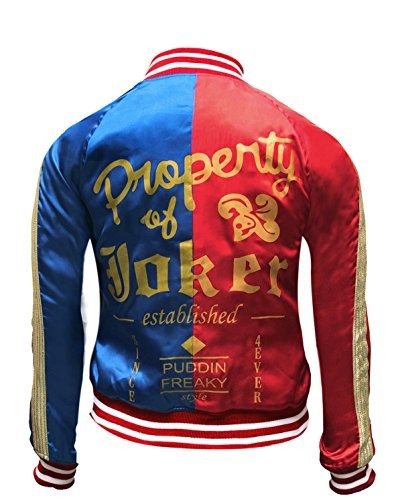 Harley Quinn Jacke - Margot Robbie Sucide Squad -Halloween-Kostüm (XXXL, Red and Blue)