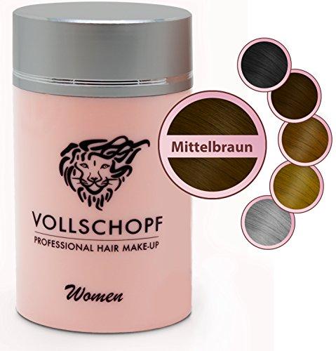 Vollschopf Hair Fibers speziell für Frauen - Schütthaar & Streuhaar bei weiblichem Haarausfall - Haar-Makeup für dünnes Frauen-Haar - Haar-Pulver Farbe Mittelbraun
