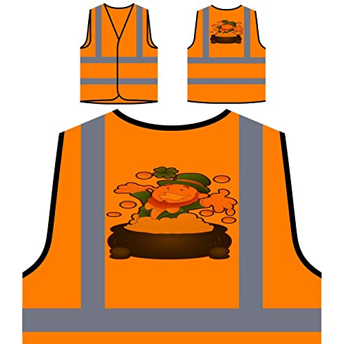 St Patrick Tag lustige Neuheit Personalisierte High Visibility Orange Sicherheitsjacke Weste (Tag Weste Patricks St)