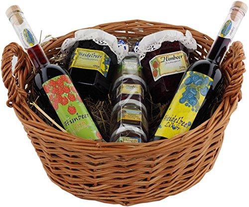 Allgäuer Delikatessen Geschenkkorb Fruchtig | Feinschmecker Geschenkset mit Fruchtaufstrich, Konfitüre, Honig und Likör inkl. Präsentkorb