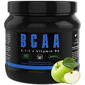 BCAA PULVER + VITAMIN B6 – Höchste Dosierung der Amino-Säuren Leucin, Isoleucin und Valin im Verhältnis 2:1:1 – Vegan und hochdosiert – APFEL