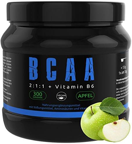 GYM-NUTRITION® — BCAA + VITAMIN B6 – Amino-Säuren hochdosiert, vegan – Leucin, Isoleucin, Valin – 2:1:1 Aminosäure-Pulver – Made in Germany – Geschmack: APFEL