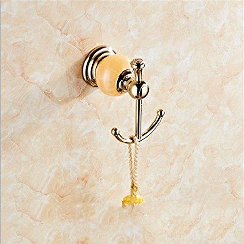 JUN Ensemble de salle Or acier inoxydable baignoire sèche-serviettes de bain racks ornements de jade naturel brosse wc set, la patère