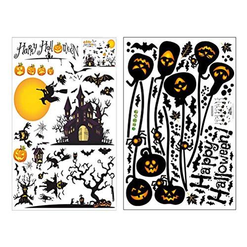 SUPVOX 2pcs Halloween Wandaufkleber Kürbis Wandtattoo Halloween Scary Dekorationen (Schwarz)