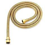 Brauseschlauch,Qualitäts Duschschlauch Brauseschlauch Gold Metall Edelstahl 150 cm /1.5 m für Handbrause / Duschbrause Standard Anschluss / Gewinde / goldener Schlauch optimal für die Badewanne oder Dusche