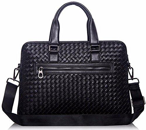 Everdoss Herren Aktentasche Leder Laptoptasche Arbeitstasche Bürotasche Collegetasche Business Fashion Schwarz