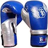 BOOM Prime Blue & Silver Leather Boxing Gloves,MMA,Sparring Punch Bag,Muay Thai Training Gloves (FREE UK SHIPPING)
