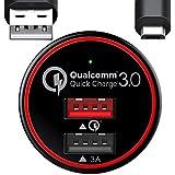 BC Master Carga rápida Cargador de coche movil 34.5W 2 Puertos USB Quick Charge3.0 + 3A Adaptador para Samsung S6 S7 edge Note 4 Note 5 con un 20AWG Cable 3.3FT Micro USB - Negro (QC 3.0)