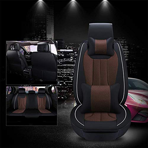 5 Sitze Auto Seat Cover Multi Color Pu Leder gewebt Seide Patchwork Sedan SUV Seat Protectors Universal Fit,Brown -