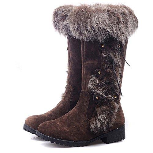 TAOFFEN Damen Winter Flache Lange Stiefel Mode Schnee Stiefel Mit Synthetik Fell Braun