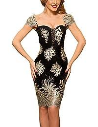 EOZY Femme Motif De Broderie Dorée Florale Robe De Cocktail Charleston