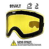Ommda Skibrille Gelb Linse Für Nicht Nachtsichtbrille Linse Mit VLT 91% Skibrille Ski Snowboard Brille Brillenträger Schneebrille Snowboardbrille Verspiegelt Für OTG Skibrillen Damen Herren