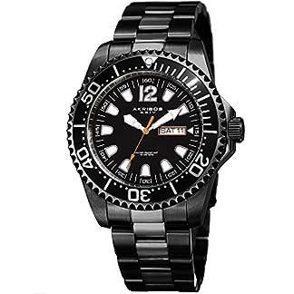 Akribos-XXIV-ak947-Herren-Armbanduhr-Diver-Zwei-Ton-Edelstahl-Link-Design-Armband-Armbanduhr-Quarz-mit-Przision-und-Datum-Anzeige