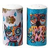 Enesco D120 Cat and Owl Salz und Pfeffer Shaker