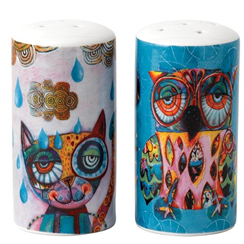 ENESCO D120 Cat and Owl Salz und Pfeffer Shaker (Shaker Cat)