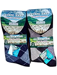 3 or 6 Pairs Gents Fresh Feel Lambs Wool Mix Diabetic Non Elastic Argyle Socks